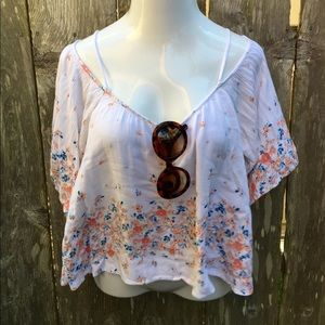 Floral On White Cotton Crepe Top